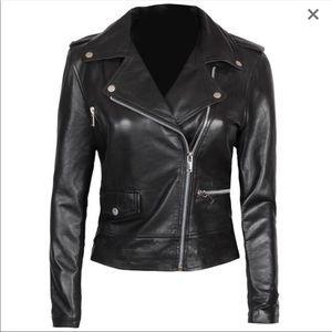 🕶 Real leather black moto jacket new M